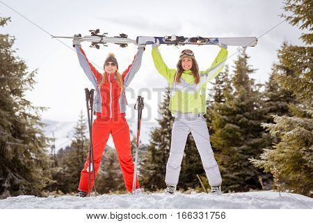 Girl Friends On Winter Vacation