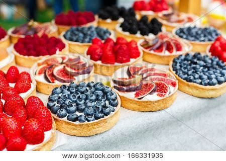 Fruit and berry tarts dessert tray assorted outdoors. Closeup of beautiful delicious pastry sweets with fresh natural blueberries and figs. French Bakery catering. Shallow depth of field