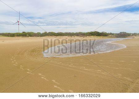 Footprint In Sand, Eolic Park At Cassino Beach