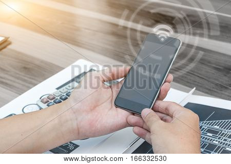 Business Connection Technology Concept ,man Using Smartphone