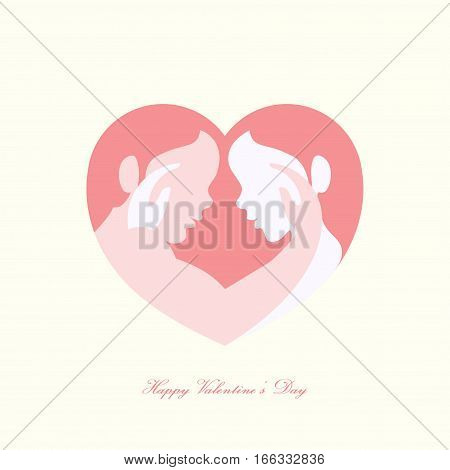 Happy Valentine's day man and woman caressing each other in heart shaped silhouette