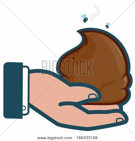 Vector iconic illustration of a businessman's hand holding poop