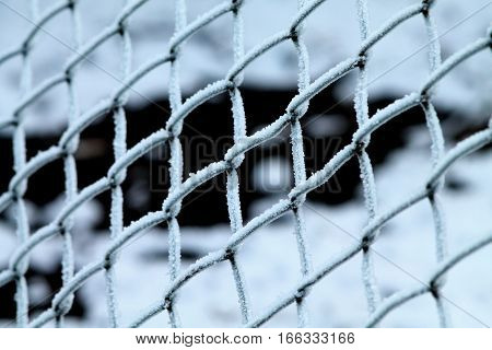 Chain-link fence covered with rime. Frozen winter morning.