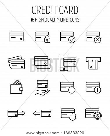 Set of credit cards in modern thin line style. High quality black outline banking symbols for web site design and mobile apps. Simple credit card pictograms on a white background.