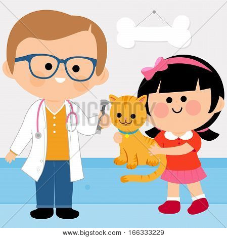 Vector illustration of a male veterinary physician examining a little girl's cat with an otoscope
