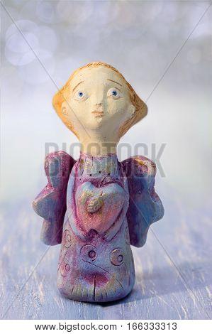 Сloseup painting clay figurine