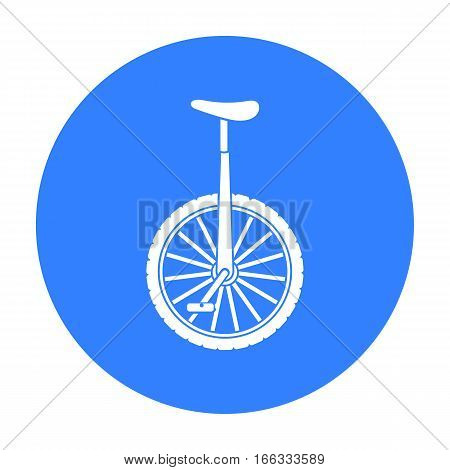 Monocycle icon in blue style isolated on white background. Circus symbol vector illustration.