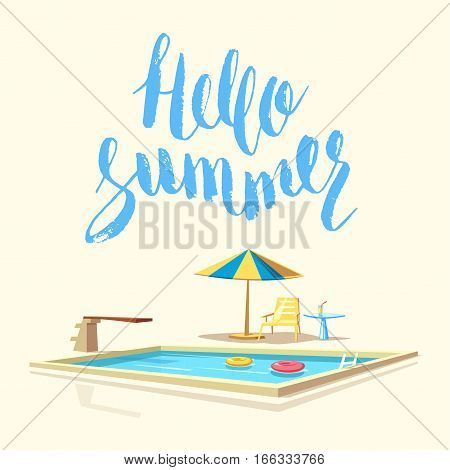 Hello summer. Swimming pool. Cartoon Vector illustration. Sport and recreation. Vintage poster and banner