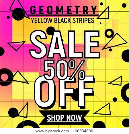 Geometry retro memphis 90s 80s poster for 50 sale