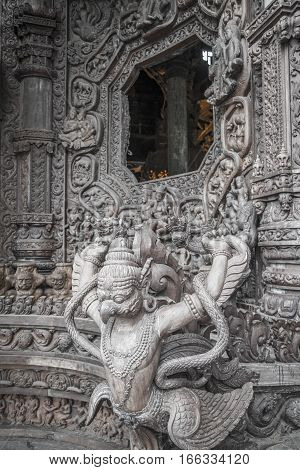 September 14, 2014. The True Temple Is A Unique Temple Completely Carved Out Of Wood, Pattaya, Thail