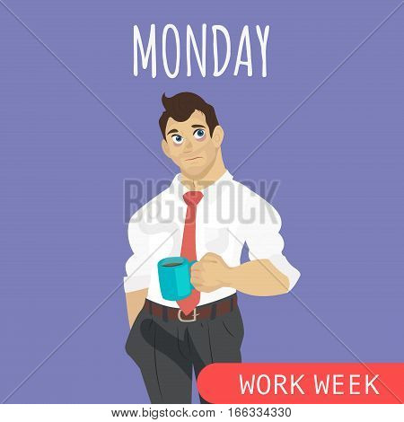 Sleepy and tired businessman with coffee flat vector illustration. Monday awful mood. Office worker weekly. Monday morning syndrome.