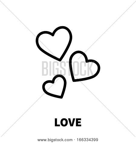 Love icon or logo in modern line style. High quality black outline pictogram for web site design and mobile apps. Vector illustration on a white background.