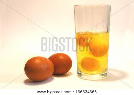 Body Building nutrition, raw eggs in a glass