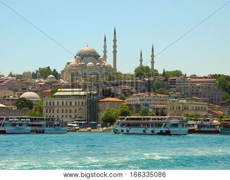 Suleymaniye Mosque and cityscape of Istanbul Turkey.