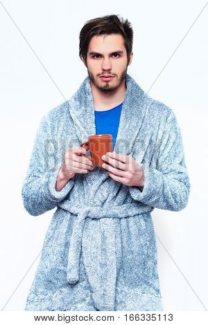 Handsome Bearded Man With Cup In Terry Bathrobe