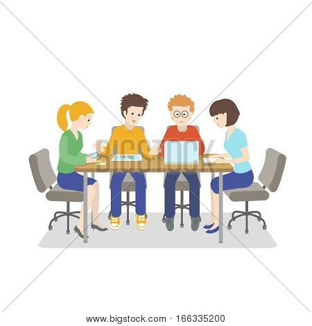 Team working. Young people talking together Startup IT company. Strategy planning business meeting. Flat style vector illustration isolated on white background.