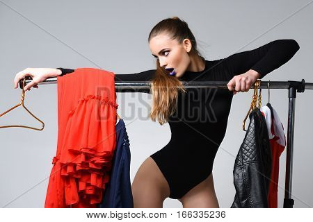 Pretty Girl At Clothes Rack