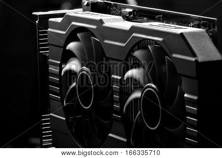 Video Card With Two Coolers From The Computer On A Dark Background.concept Computer Harware