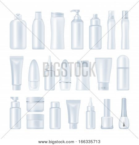 Blank cosmetic package collection isolated on white background. Set of tubes for cream, shampoo, lotion, emulsion, deodorant, skin oil. nail polish, hear styling mock ups vector illustration