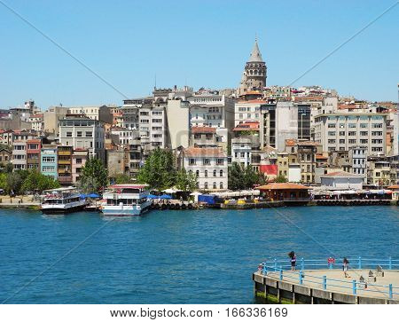 Galata Tower and cityscape of Istanbul Turkey.