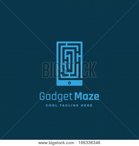 Gadget Maze Abstract Vector Sign, Emblem or Logo Template. Labyrinth in a Smartphone Silhouette Concept. Dark Blue Background.