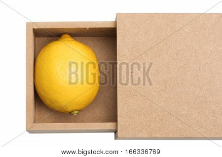 Yellow Lemon In Box Isolated On White