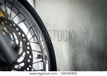 Motorbike Wheel. Close Up Detail. selective focus