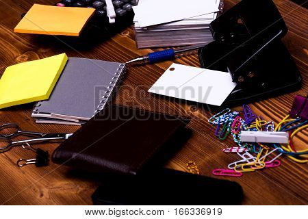 Stationery: Notebook, Scissors, Clips, Pen, Wallet, Rubber, Hole Puncher, Calculator
