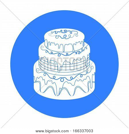 Blue three-ply cake icon in blue design stock vector illustration.