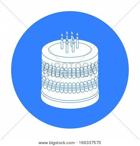 Bicolor cake icon in blue design isolated on white background. Cakes symbol stock vector illustration.