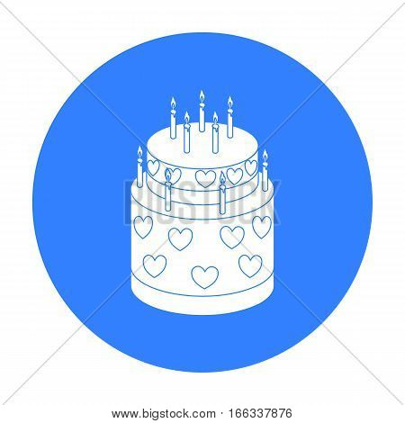 Cake with hearts icon in blue design isolated on white background. Cakes symbol stock vector illustration.