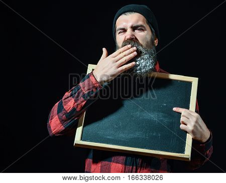 Bored Man With Chalkboard