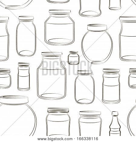 Pattern of empty jars isolated on white background