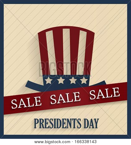 Presidents Day sale poster with red ribbon. Vector illustration.