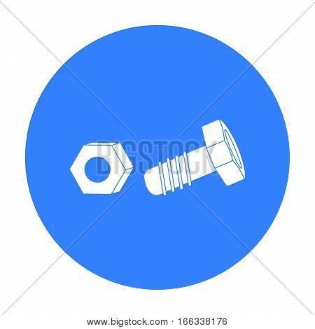 Structural bolt and hex nut icon in blue style isolated on white background. Build and repair symbol vector illustration.