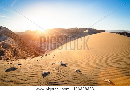 Wide view of stunning sunset on sand formation at