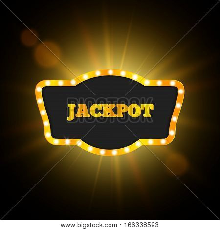 Jackpot Retro Banner, Vector Gambling Design, EPS10