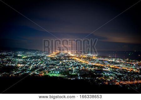 Hua Hin city in twilight, Thailand. landscape city