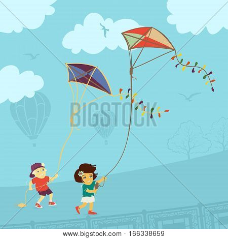 Children Playing Kite Vector Illustration eps 8 file format
