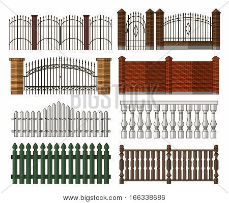 Set of gates and fences vectors. Collection of metal gates, wrought iron, lattice and wooden gates and fences for yard.