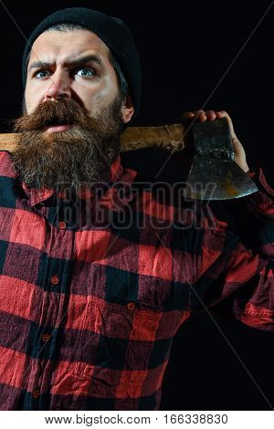 Surprised Man Keeps Axe