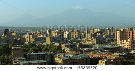 View of mountain Ararat and Yerevan city from Cascade