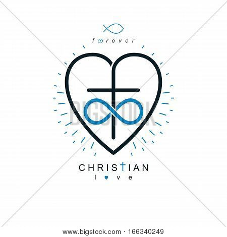 Immortal Love Of God Conceptual Symbol Combined With Infinity Loop Sign And Christian Cross With Hea