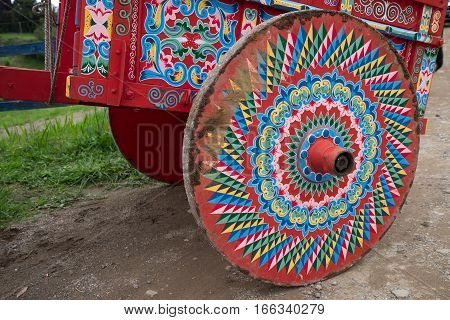 colourful painted carriage closeup in Costa Rica
