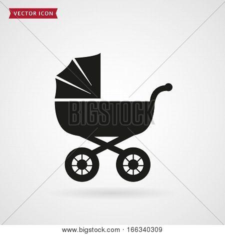 Baby pram icon isolated on white background. Vector illustration.
