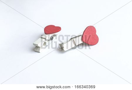 wooden clothes pin or cloth pegs with heart shape design for valentine or love event(vintage effect)