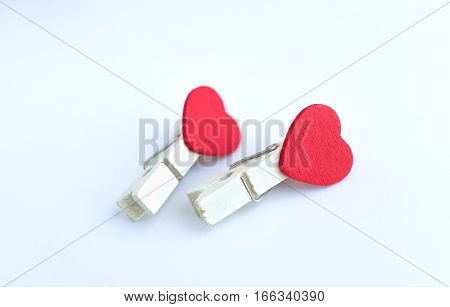 wooden clothes pin or cloth pegs with heart shape design for valentine or love event