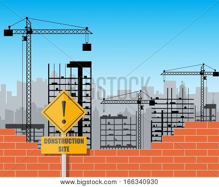 Construction site with buildings and cranes. skyscraper under construction. brick wall. vector illustration