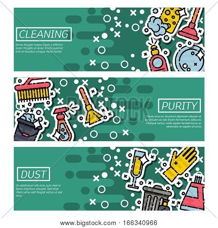Cleaning horizontal banners set with professional house washing equipment. Vector illustration, EPS 10