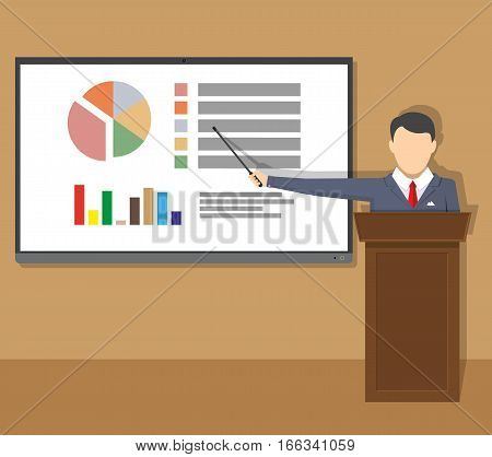 tv screen with financial report and lecturer. Training staff, meeting, report, business school. vector illustration in flat style